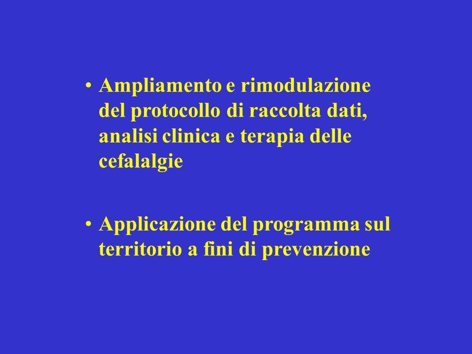 Ampliamento e rimodulazione del protocollo di raccolta dati, analisi clinica e terapia delle cefalalgie Applicazione del programma sul territorio a fini di prevenzione