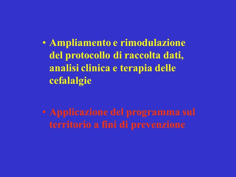 Ampliamento e rimodulazione del protocollo di raccolta dati, analisi clinica e terapia delle cefalalgie Applicazione del programma sul territorio a fi