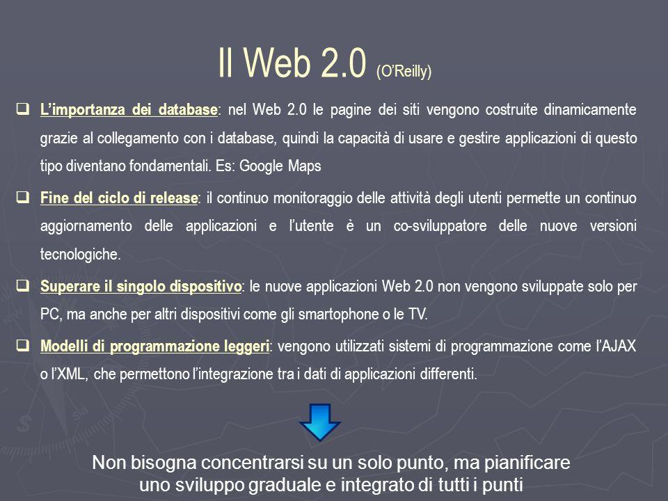 Limportanza dei database : nel Web 2.0 le pagine dei siti vengono costruite dinamicamente grazie al collegamento con i database, quindi la capacità di usare e gestire applicazioni di questo tipo diventano fondamentali.