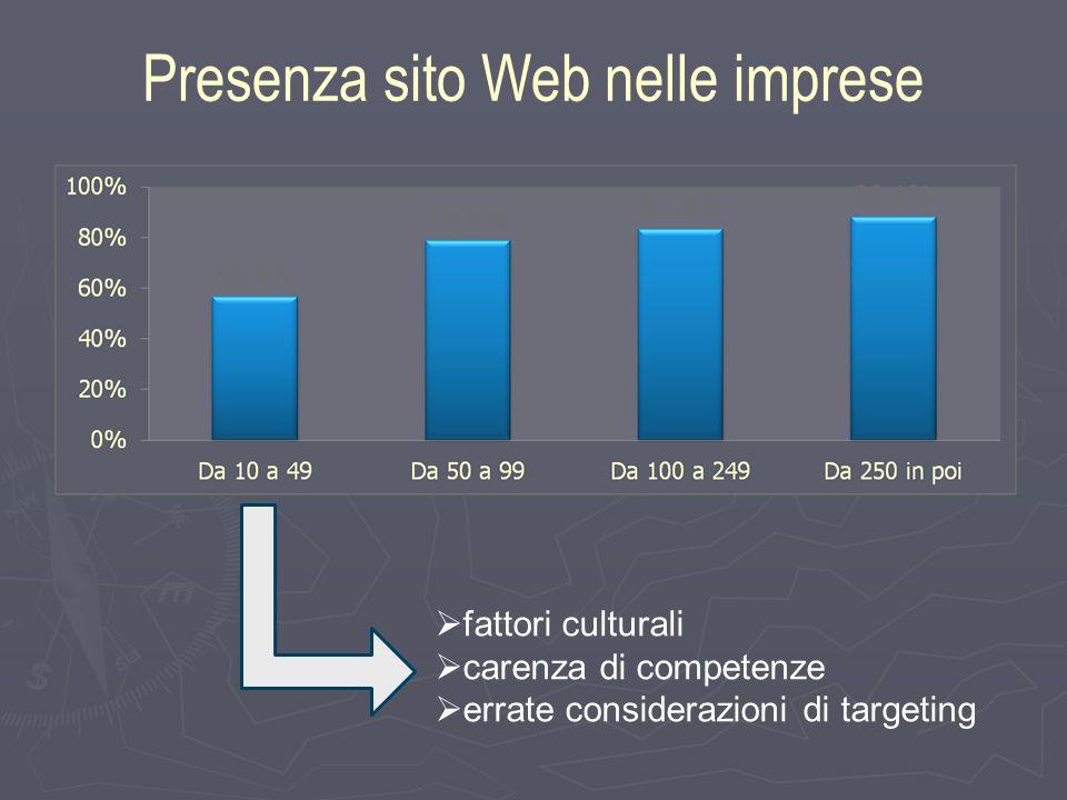 Presenza sito Web nelle imprese fattori culturali carenza di competenze errate considerazioni di targeting