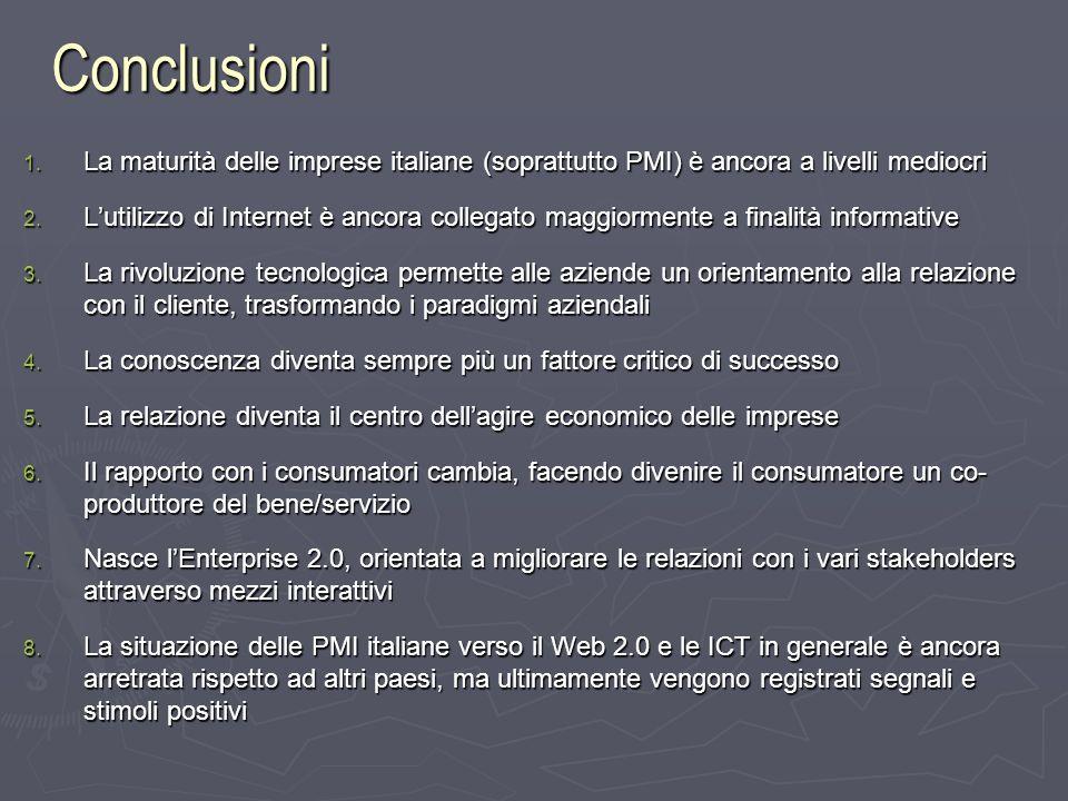 Conclusioni 1. La maturità delle imprese italiane (soprattutto PMI) è ancora a livelli mediocri 2.