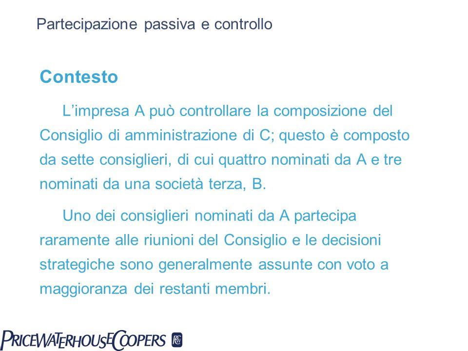 Partecipazione passiva e controllo Contesto Limpresa A può controllare la composizione del Consiglio di amministrazione di C; questo è composto da set