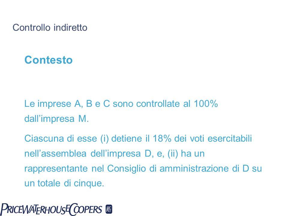 Controllo indiretto Contesto Le imprese A, B e C sono controllate al 100% dallimpresa M. Ciascuna di esse (i) detiene il 18% dei voti esercitabili nel