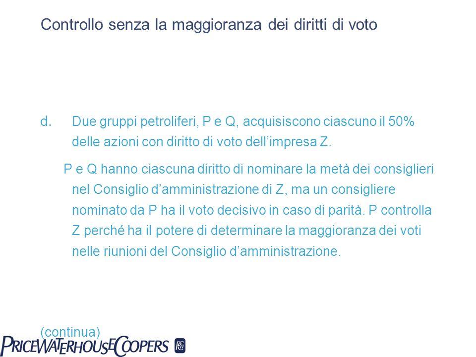 Controllo senza la maggioranza dei diritti di voto d. Due gruppi petroliferi, P e Q, acquisiscono ciascuno il 50% delle azioni con diritto di voto del