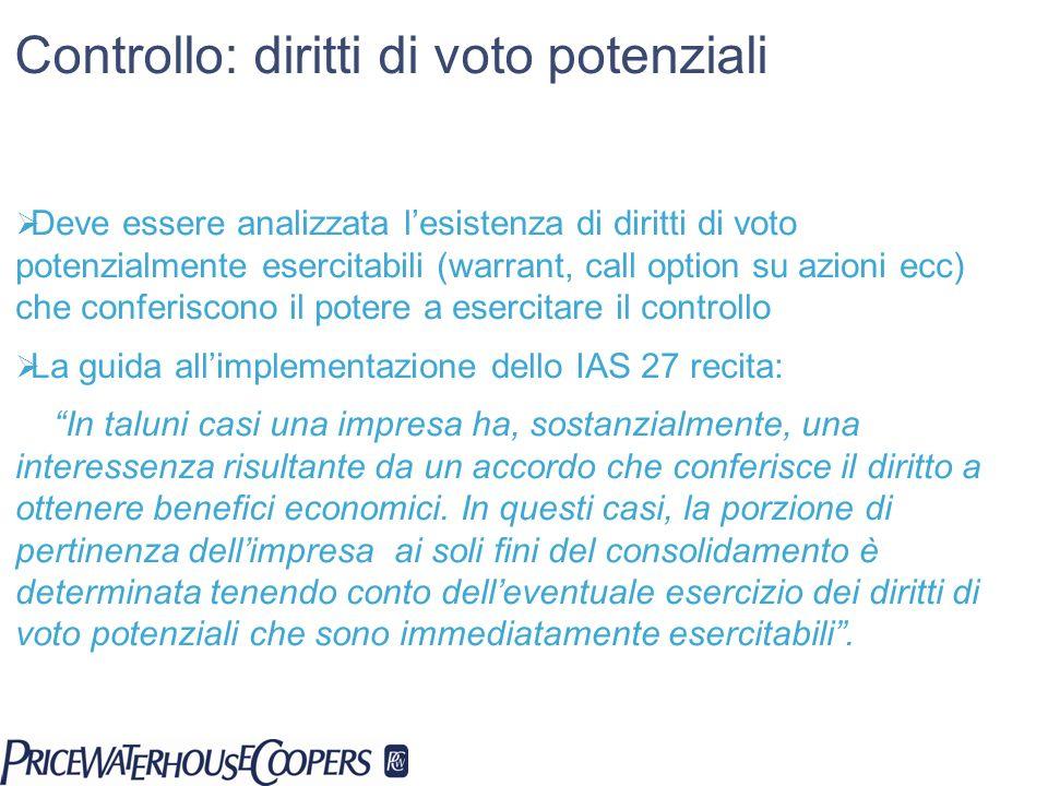 Controllo: diritti di voto potenziali Deve essere analizzata lesistenza di diritti di voto potenzialmente esercitabili (warrant, call option su azioni