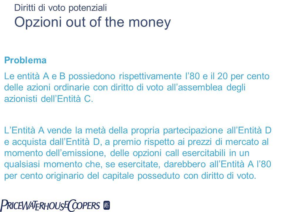 Diritti di voto potenziali Opzioni out of the money Problema Le entità A e B possiedono rispettivamente l80 e il 20 per cento delle azioni ordinarie c