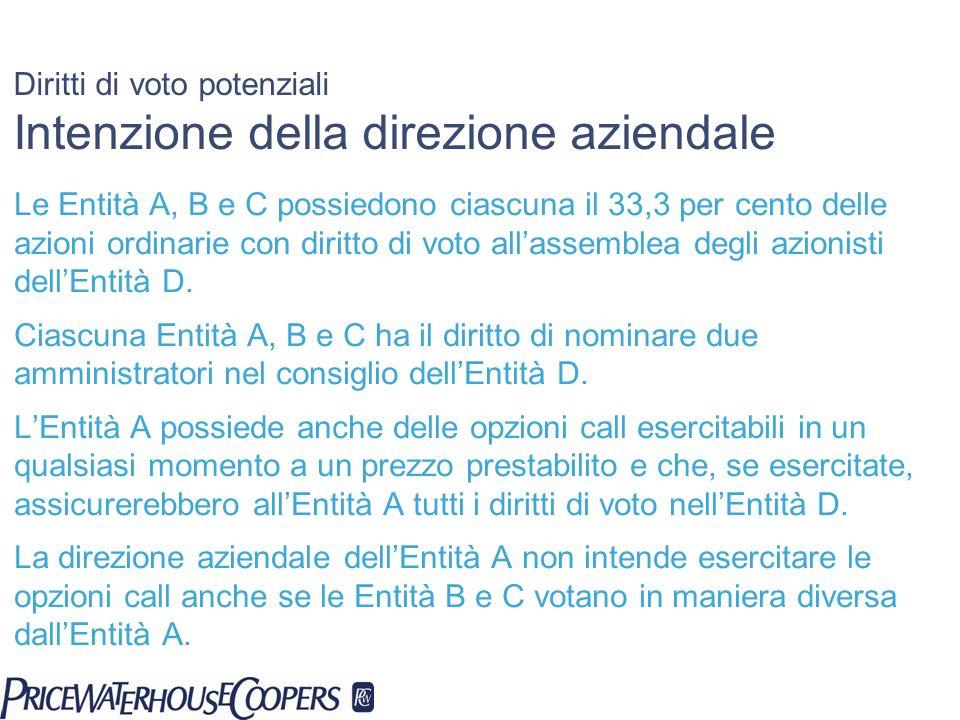 Diritti di voto potenziali Intenzione della direzione aziendale Le Entità A, B e C possiedono ciascuna il 33,3 per cento delle azioni ordinarie con di