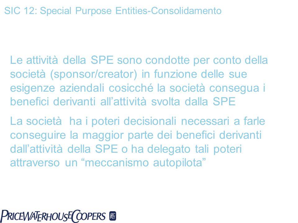 SIC 12: Special Purpose Entities-Consolidamento Le attività della SPE sono condotte per conto della società (sponsor/creator) in funzione delle sue es