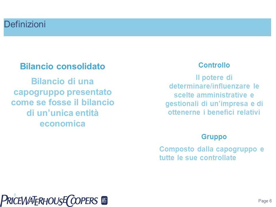 Page 6 Definizioni 6 Controllo Il potere di determinare/influenzare le scelte amministrative e gestionali di unimpresa e di ottenerne i benefici relat