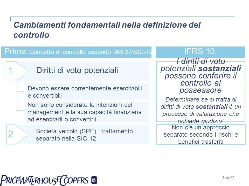 PwC Prima : Concetto di controllo secondo IAS 27/SIC-12: Diritti di voto potenziali 1 IFRS 10 : Devono essere correntemente esercitabili e convertibil
