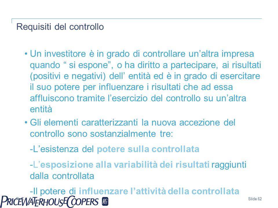 PwC Requisiti del controllo Un investitore è in grado di controllare unaltra impresa quando si espone, o ha diritto a partecipare, ai risultati (posit