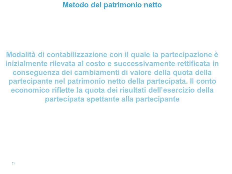 Page 74 74 Metodo del patrimonio netto Modalità di contabilizzazione con il quale la partecipazione è inizialmente rilevata al costo e successivamente