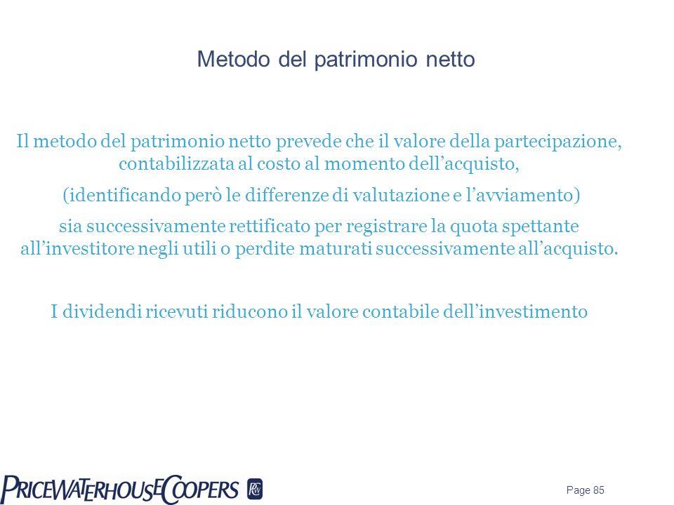 Metodo del patrimonio netto Il metodo del patrimonio netto prevede che il valore della partecipazione, contabilizzata al costo al momento dellacquisto