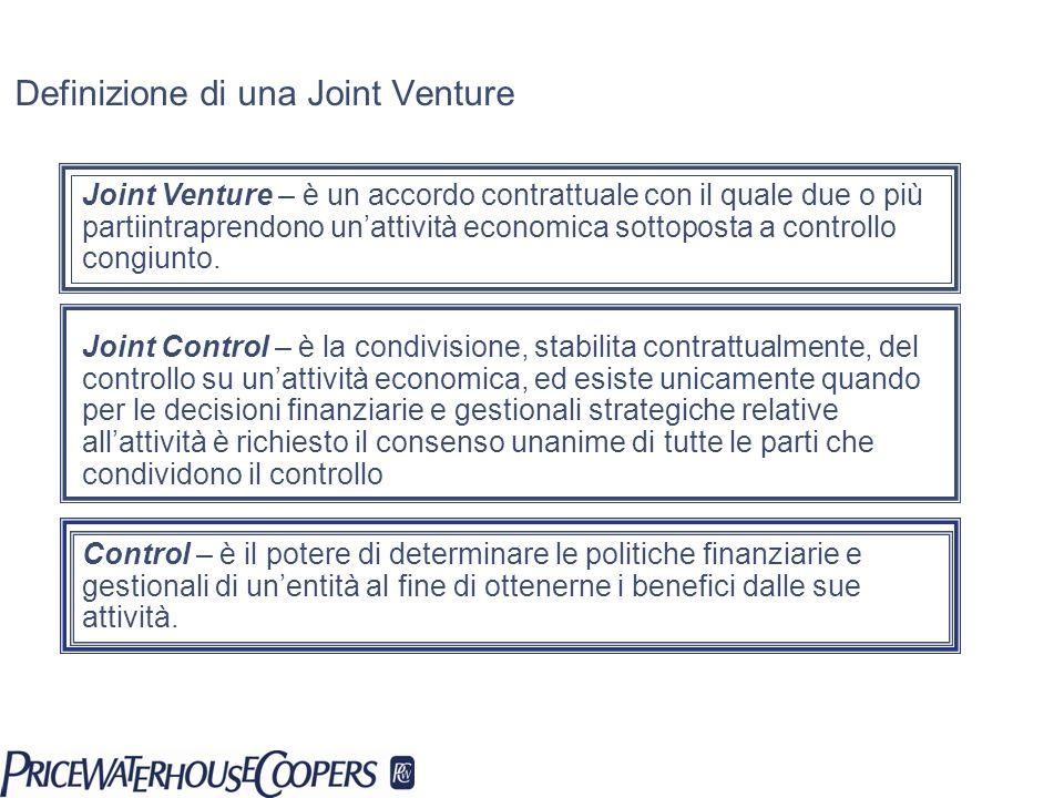 Definizione di una Joint Venture Joint Venture – è un accordo contrattuale con il quale due o più partiintraprendono unattività economica sottoposta a