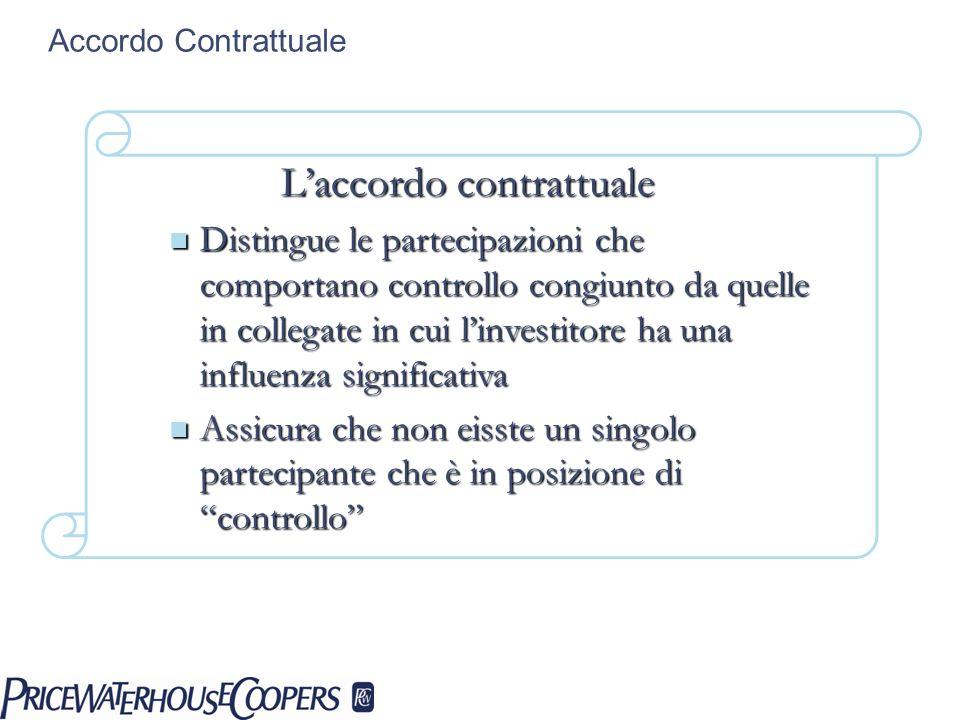 Accordo Contrattuale Laccordo contrattuale Distingue le partecipazioni che comportano controllo congiunto da quelle in collegate in cui linvestitore h