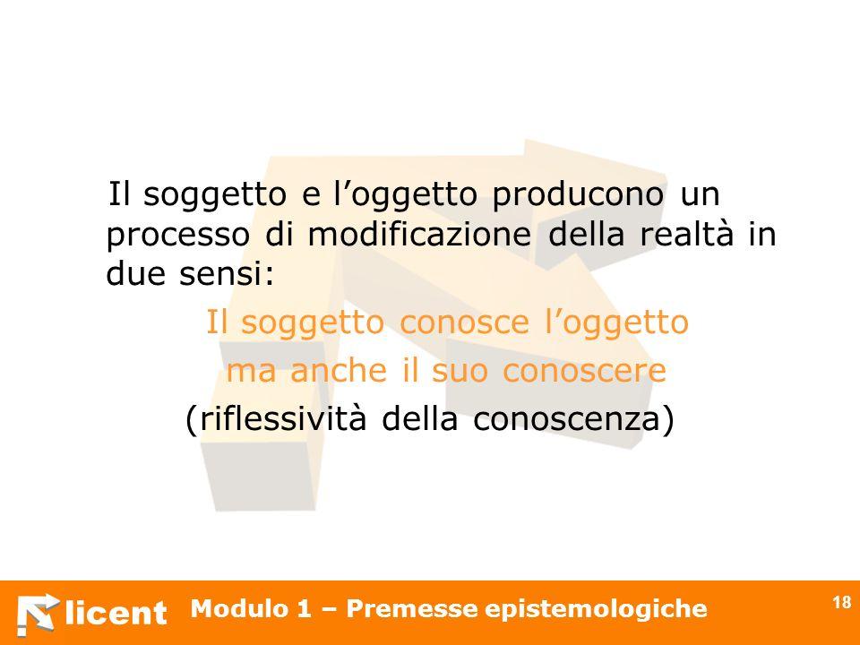 licent Modulo 1 – Premesse epistemologiche 18 Il soggetto e loggetto producono un processo di modificazione della realtà in due sensi: Il soggetto con
