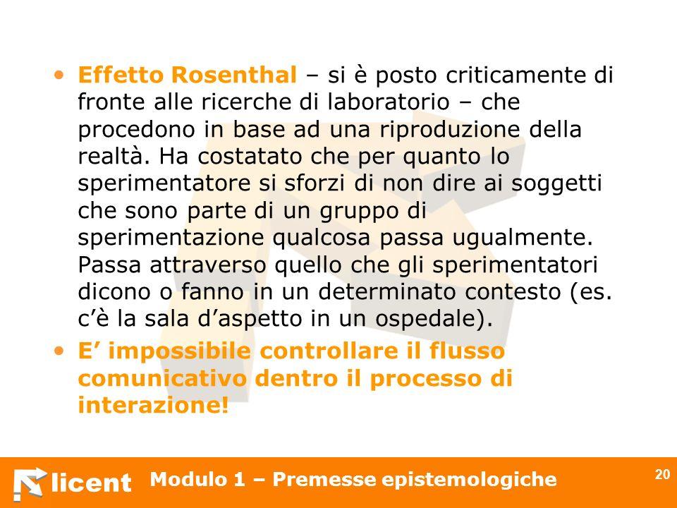 licent Modulo 1 – Premesse epistemologiche 20 Effetto Rosenthal – si è posto criticamente di fronte alle ricerche di laboratorio – che procedono in ba