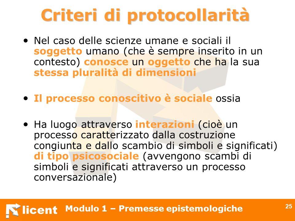 licent Modulo 1 – Premesse epistemologiche 25 Criteri di protocollarità Nel caso delle scienze umane e sociali il soggetto umano (che è sempre inserit