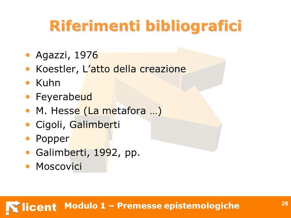licent Modulo 1 – Premesse epistemologiche 28 Riferimenti bibliografici Agazzi, 1976 Koestler, Latto della creazione Kuhn Feyerabeud M. Hesse (La meta