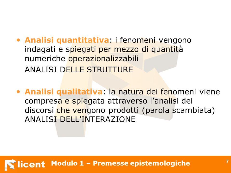 licent Modulo 1 – Premesse epistemologiche 7 Analisi quantitativa: i fenomeni vengono indagati e spiegati per mezzo di quantità numeriche operazionali