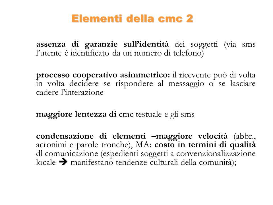 Elementi della cmc 2 assenza di garanzie sullidentità dei soggetti (via sms lutente è identificato da un numero di telefono) processo cooperativo asim