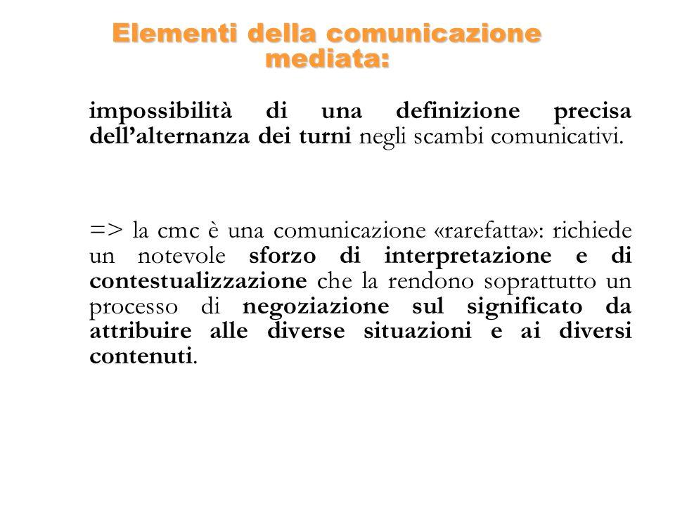 Elementi della comunicazione mediata: impossibilità di una definizione precisa dellalternanza dei turni negli scambi comunicativi. => la cmc è una com