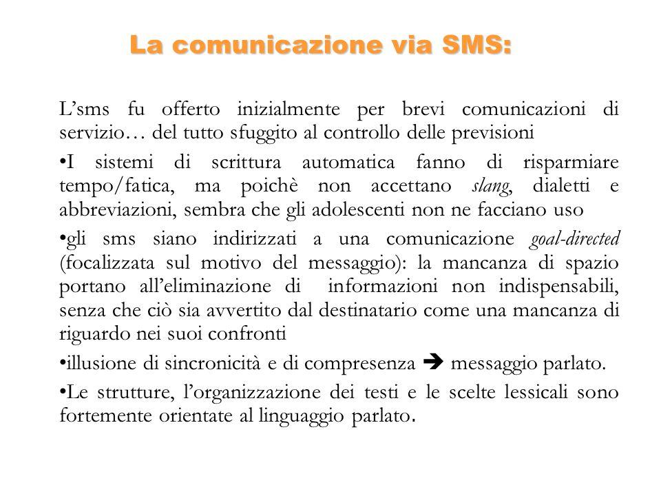 La comunicazione via SMS: Lsms fu offerto inizialmente per brevi comunicazioni di servizio… del tutto sfuggito al controllo delle previsioni I sistemi