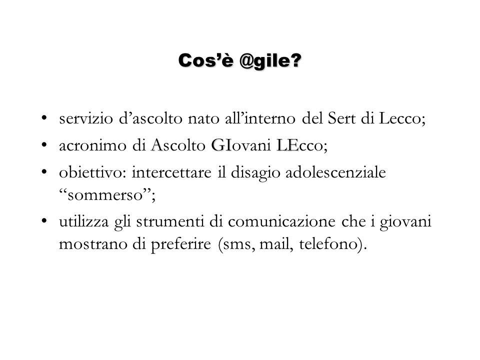 Cosè @gile? servizio dascolto nato allinterno del Sert di Lecco; AGILEacronimo di Ascolto GIovani LEcco; obiettivo: intercettare il disagio adolescenz
