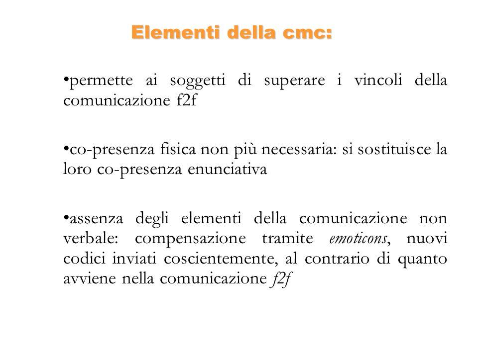 Elementi della cmc: permette ai soggetti di superare i vincoli della comunicazione f2f co-presenza fisica non più necessaria: si sostituisce la loro c