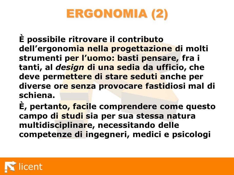 licent ERGONOMIA (2) È possibile ritrovare il contributo dellergonomia nella progettazione di molti strumenti per luomo: basti pensare, fra i tanti, a