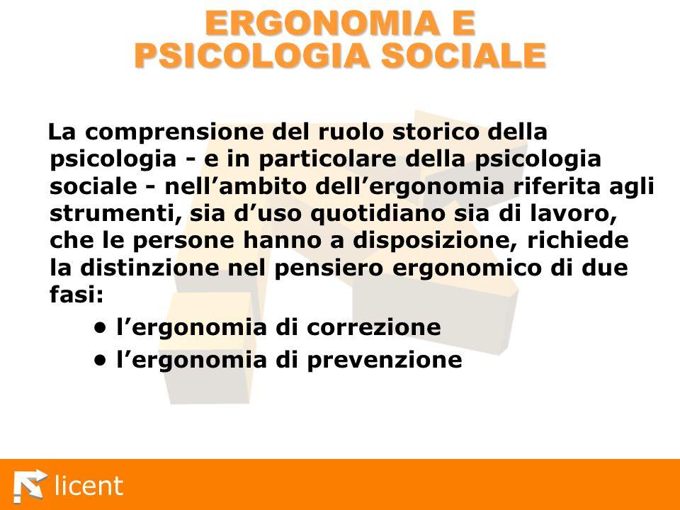 licent ERGONOMIA E PSICOLOGIA SOCIALE La comprensione del ruolo storico della psicologia - e in particolare della psicologia sociale - nellambito dell