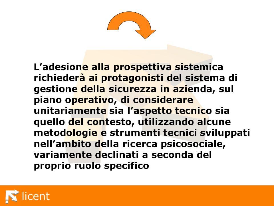licent Ladesione alla prospettiva sistemica richiederà ai protagonisti del sistema di gestione della sicurezza in azienda, sul piano operativo, di con