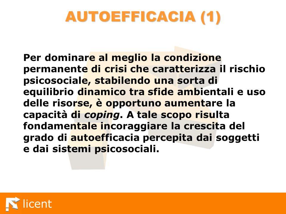 licent AUTOEFFICACIA (1) Per dominare al meglio la condizione permanente di crisi che caratterizza il rischio psicosociale, stabilendo una sorta di eq