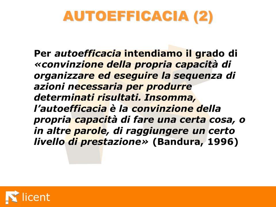 licent AUTOEFFICACIA (2) Per autoefficacia intendiamo il grado di «convinzione della propria capacità di organizzare ed eseguire la sequenza di azioni