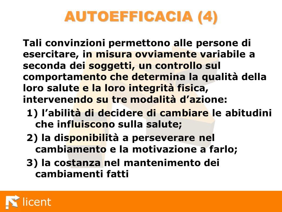 licent AUTOEFFICACIA (4) Tali convinzioni permettono alle persone di esercitare, in misura ovviamente variabile a seconda dei soggetti, un controllo s