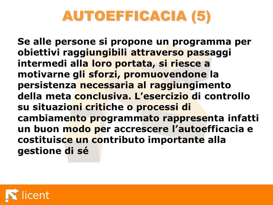 licent AUTOEFFICACIA (5) Se alle persone si propone un programma per obiettivi raggiungibili attraverso passaggi intermedi alla loro portata, si riesc
