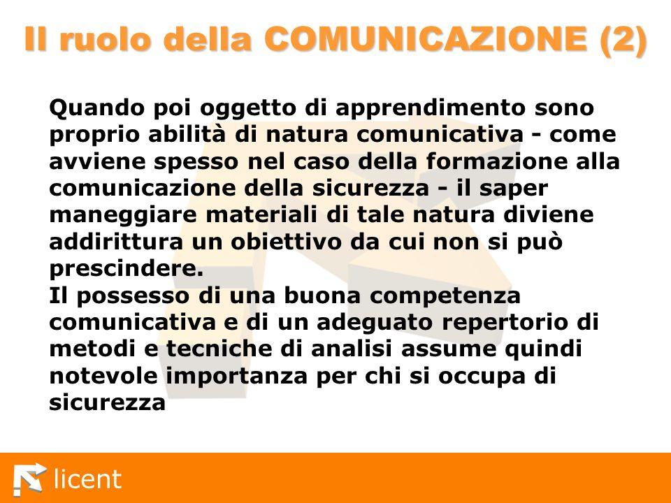 licent Il ruolo della COMUNICAZIONE (2) Quando poi oggetto di apprendimento sono proprio abilità di natura comunicativa - come avviene spesso nel caso