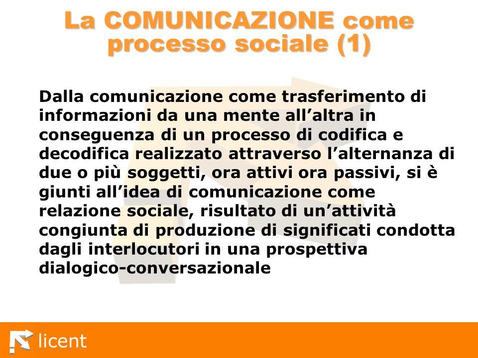 licent La COMUNICAZIONE come processo sociale (1) Dalla comunicazione come trasferimento di informazioni da una mente allaltra in conseguenza di un pr