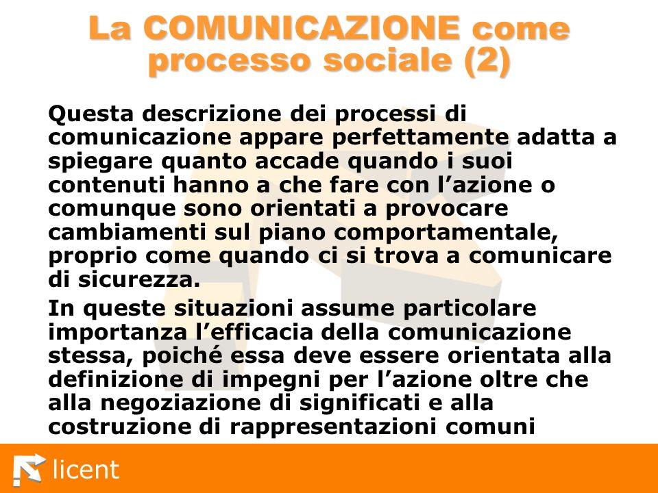 licent La COMUNICAZIONE come processo sociale (2) Questa descrizione dei processi di comunicazione appare perfettamente adatta a spiegare quanto accad