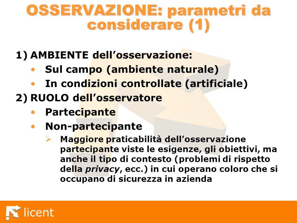 licent OSSERVAZIONE: parametri da considerare (1) 1)AMBIENTE dellosservazione: Sul campo (ambiente naturale) In condizioni controllate (artificiale) 2