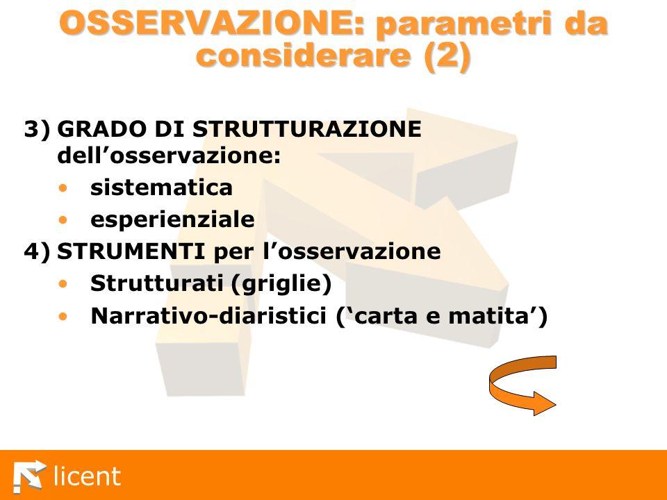 licent OSSERVAZIONE: parametri da considerare (2) 3)GRADO DI STRUTTURAZIONE dellosservazione: sistematica esperienziale 4)STRUMENTI per losservazione