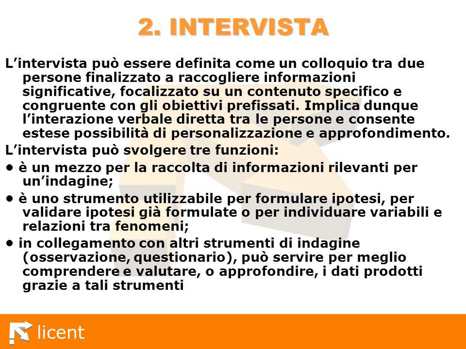licent 2. INTERVISTA Lintervista può essere definita come un colloquio tra due persone finalizzato a raccogliere informazioni significative, focalizza