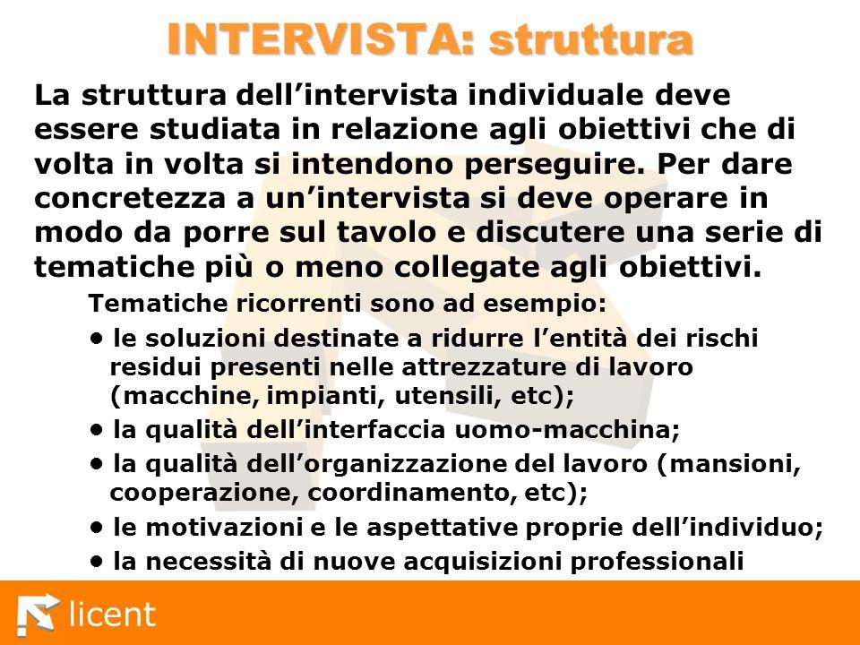 licent INTERVISTA: struttura La struttura dellintervista individuale deve essere studiata in relazione agli obiettivi che di volta in volta si intendo