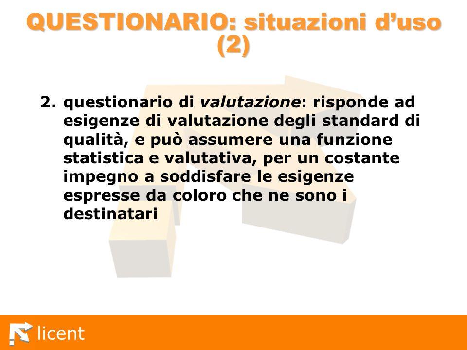 licent QUESTIONARIO: situazioni duso (2) 2.questionario di valutazione: risponde ad esigenze di valutazione degli standard di qualità, e può assumere