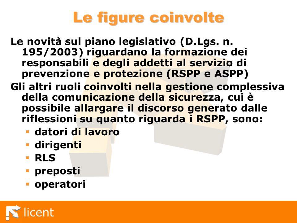 licent Le figure coinvolte Le novità sul piano legislativo (D.Lgs. n. 195/2003) riguardano la formazione dei responsabili e degli addetti al servizio