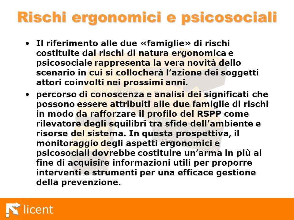 licent Rischi ergonomici e psicosociali Il riferimento alle due «famiglie» di rischi costituite dai rischi di natura ergonomica e psicosociale rappres
