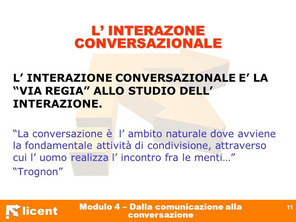 licent Modulo 4 – Dalla comunicazione alla conversazione 11 L INTERAZONE CONVERSAZIONALE L INTERAZIONE CONVERSAZIONALE E LA VIA REGIA ALLO STUDIO DELL