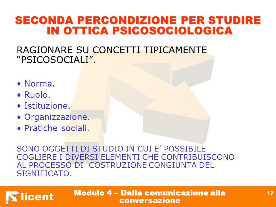licent Modulo 4 – Dalla comunicazione alla conversazione 12 SECONDA PERCONDIZIONE PER STUDIRE IN OTTICA PSICOSOCIOLOGICA RAGIONARE SU CONCETTI TIPICAM
