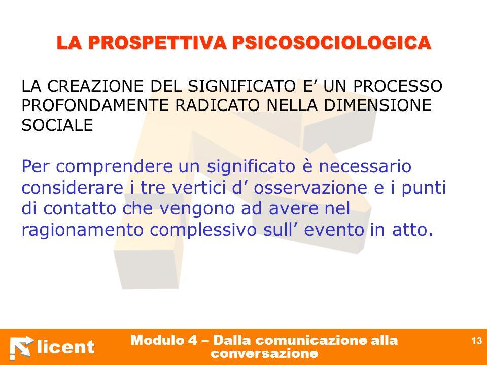 licent Modulo 4 – Dalla comunicazione alla conversazione 13 LA PROSPETTIVA PSICOSOCIOLOGICA LA PROSPETTIVA PSICOSOCIOLOGICA LA CREAZIONE DEL SIGNIFICA