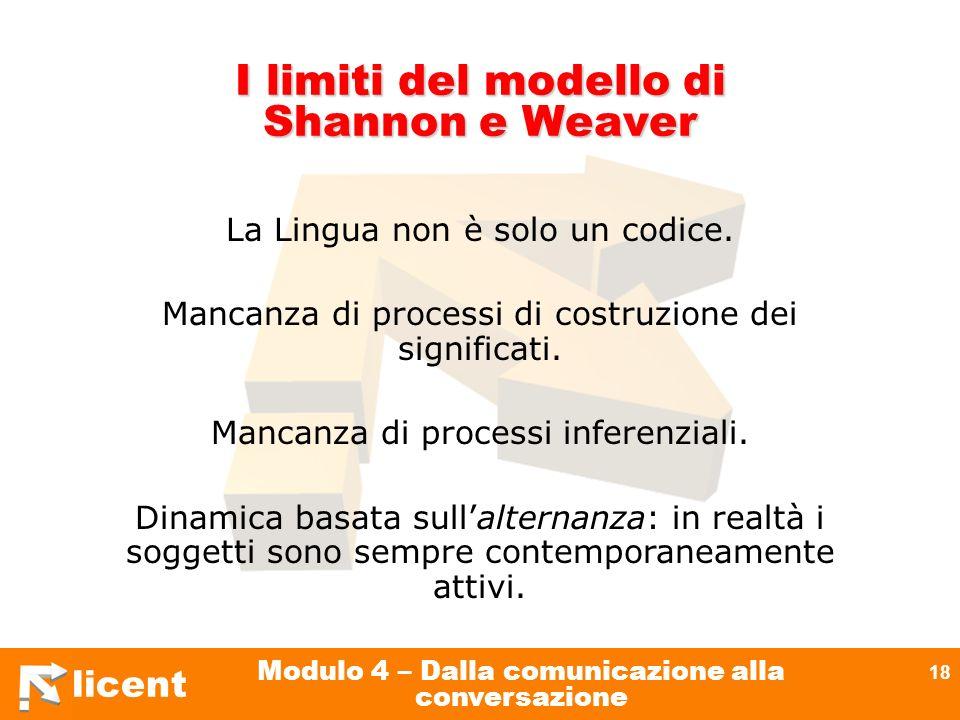 licent Modulo 4 – Dalla comunicazione alla conversazione 18 I limiti del modello di Shannon e Weaver La Lingua non è solo un codice. Mancanza di proce